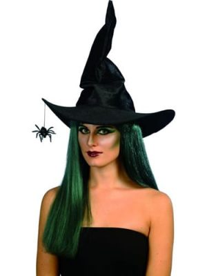 Black Velour Witch's Hat with Spider