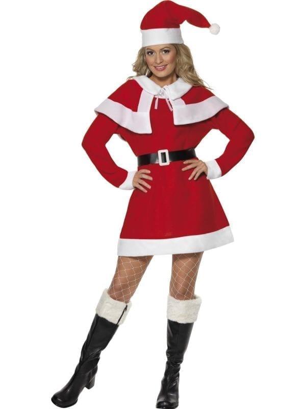Miss Santa Fleece Ladies Christmas Fancy Dress Costume