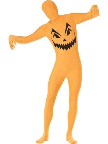 Pumpkin Second Skin Halloween Men's Fancy Dress Costume