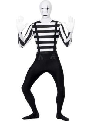 Mime Second Skin Halloween Men's Fancy Dress Costume