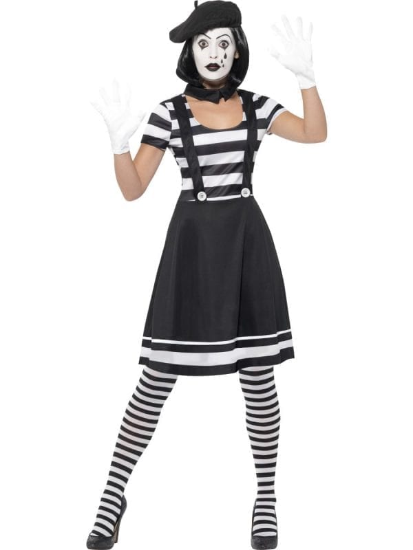 Mime Artist Ladies Fancy Dress Costume