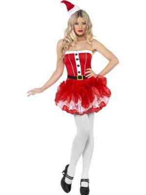 Fever Santa Tutu Dress Ladies Christmas Fancy Dress Costume (DISC)