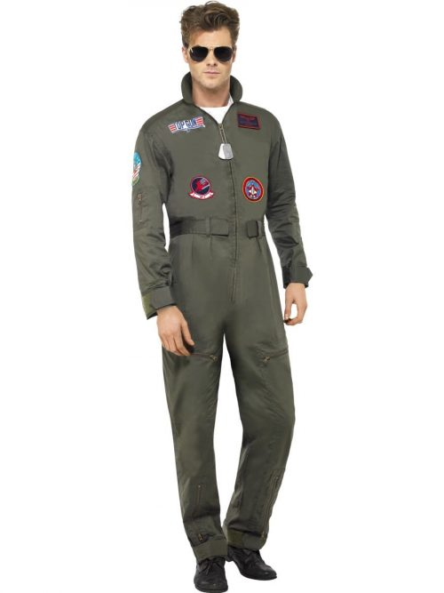 Top Gun Deluxe Jumpsuit Men's Fancy Dress Costume