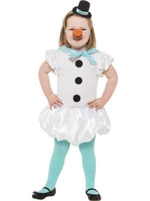 Puffball Snowgirl Children's Christmas Fancy Dress Costume