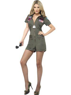 Top Gun Aviator Playsuit Ladies Fancy Dress Costume