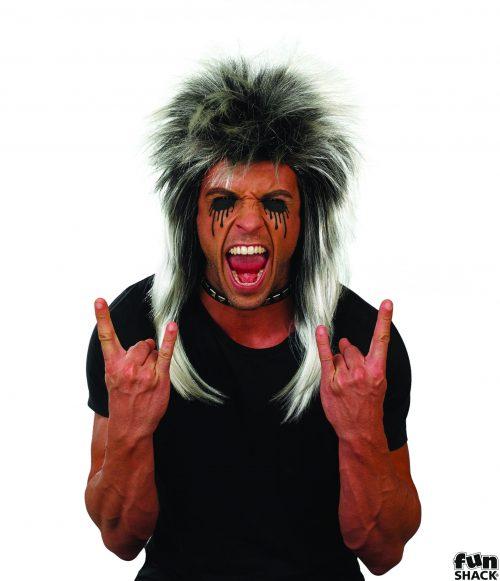 Glam Rock Wig Silver/Black