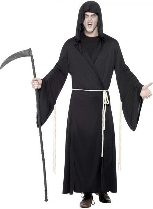 Grim Reaper Hooded Robe Halloween Mens Fancy Dress Costume
