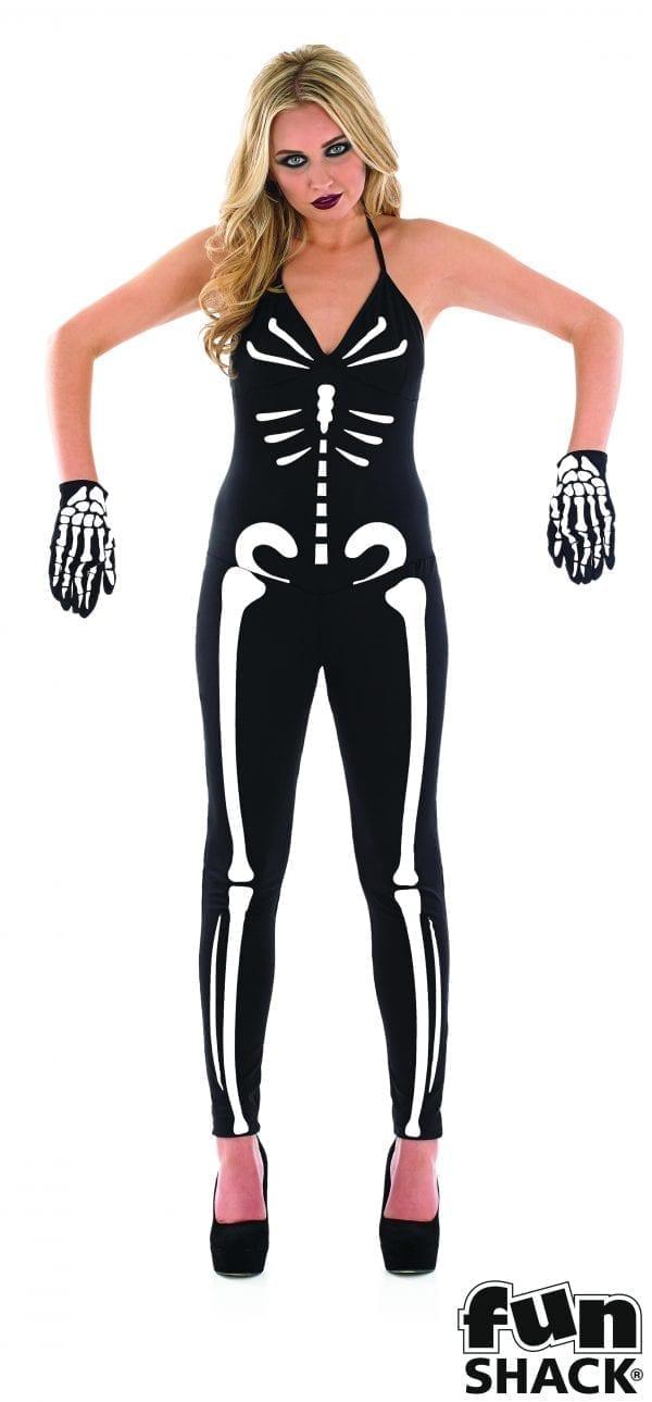 Skeleton Girl Ladies Halloween Fancy Dress Costume