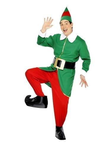 Deluxe Elf Mens Christmas Fancy Dress Costume