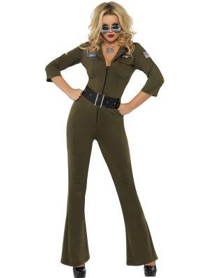Top Gun Aviator Ladies Fancy Dress Costume