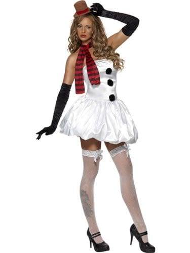 Fever Sexy Snowman Ladies Christmas Fancy Dress Costume (DISC)