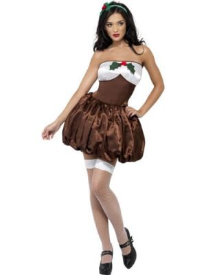 Fever Saucy Pud Ladies Christmas Fancy Dress Costume