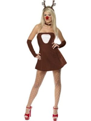 Fever Collection Red Hot Reindeer Ladies Christmas Fancy Dress Costume