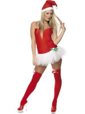 Fever Santa Tutu Babe Ladies Christmas Fancy Dress Costume (DISC)