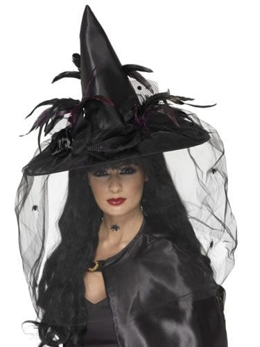 Deluxe Witches Hat Black with Net & Feathers