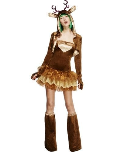 Fever Reindeer Christmas Ladies Fancy Dress Costume