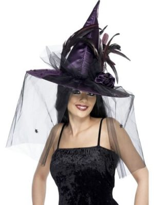 Deluxe Witches Hat Purple with Net & Feathers