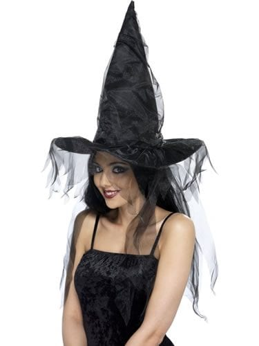 Witch's Hat Black with Long Net Hair
