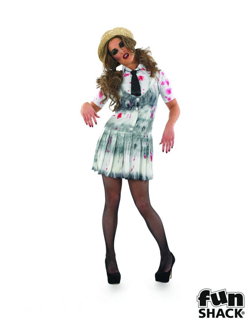 Zombie Schoolgirl Ladies Halloween Fancy Dress Costume