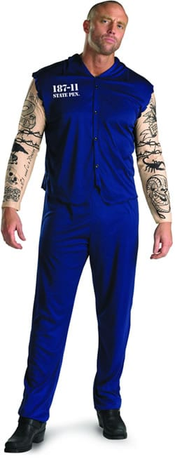 Tattooed Convict Teen Mens Fancy Dress Costume
