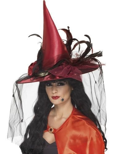 Deluxe Witches Hat Deep Red with Net & Feathers