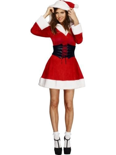 Fever Hooded Santa Ladies Christmas Fancy Dress Costume