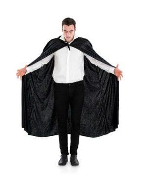 Black Velour Hooded Cape Halloween Fancy Dress Costume