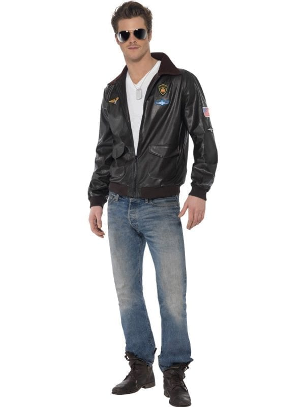 Top Gun Bomber Jacket Men's Fancy Dress Costume