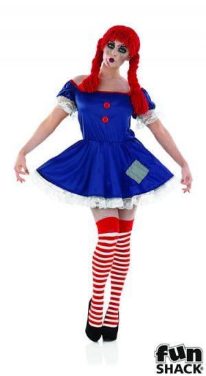 Scary Rag Doll Ladies Halloween Fancy Dress Costume