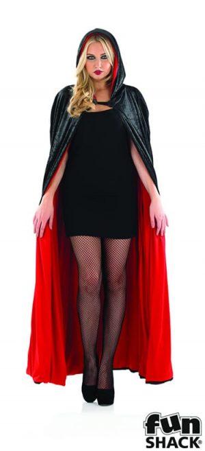 Black/Red Velour Hooded Cape Longer Halloween Fancy Dress Costume