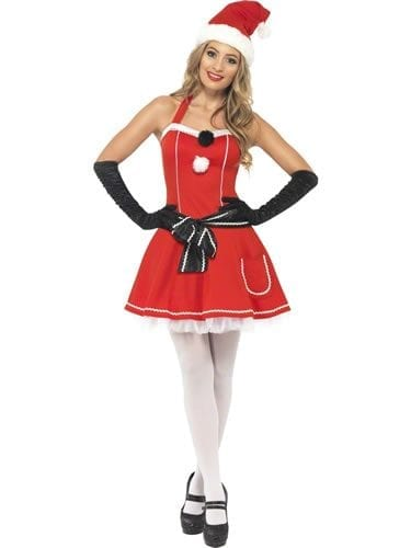 Pom Pom Santa Ladies Christmas Fancy Dress Costume