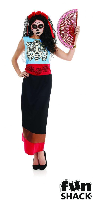 Day of the Dead Senorita Ladies Halloween Fancy Dress Costume