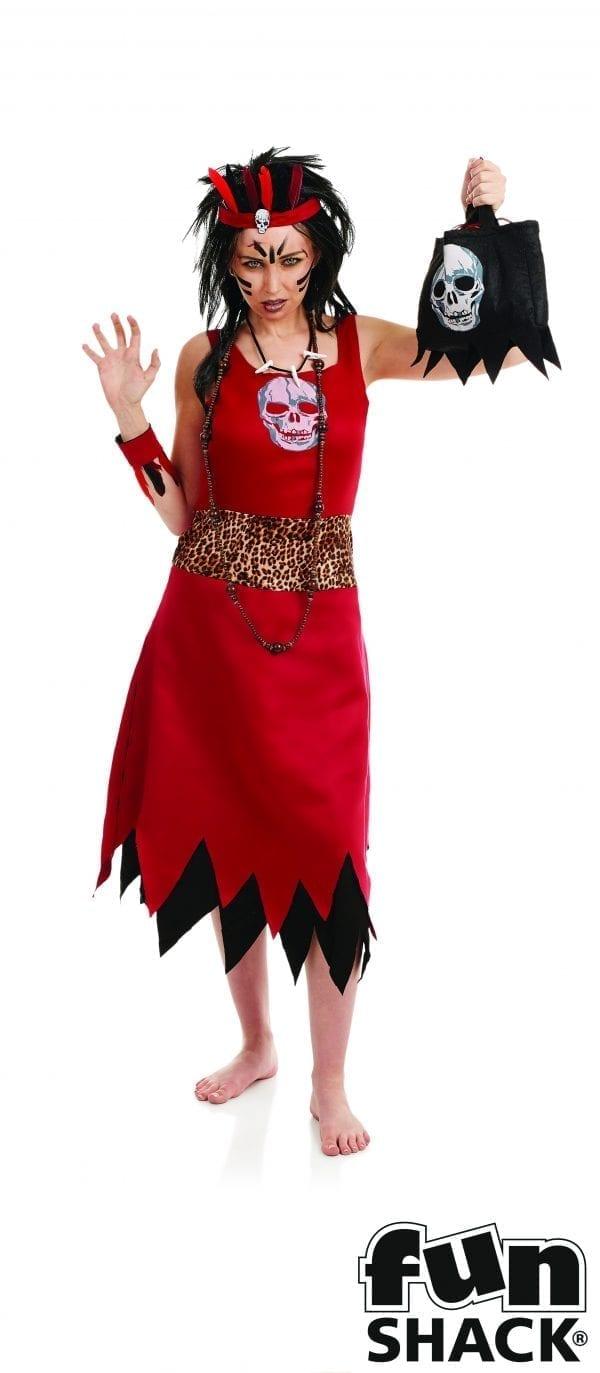 Voodoo Witch Doctoress Ladies Halloween Fancy Dress Costume