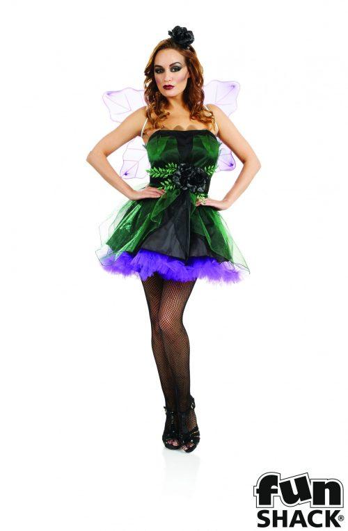 Black/Purple Fairy Nymph Ladies Halloween Fancy Dress Costume