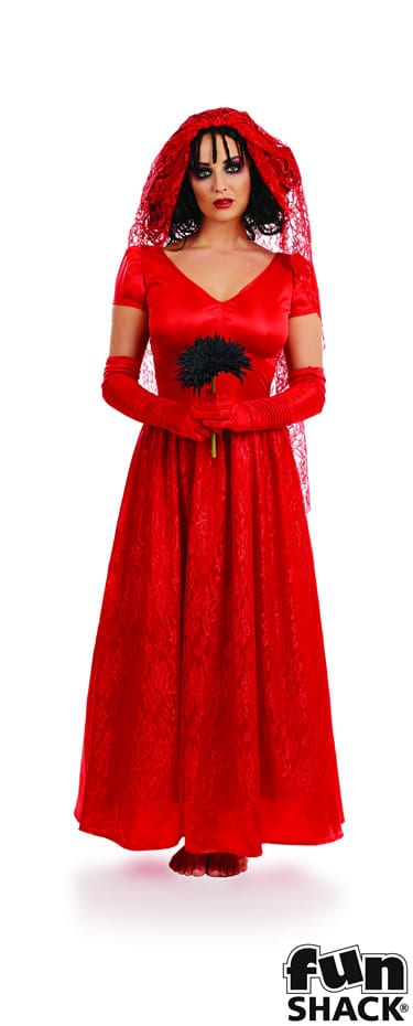 Blood Red Bride Ladies Halloween Fancy Dress Costume
