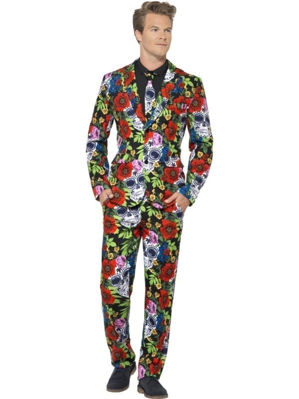 Day of the Dead Standout Suit Men's Halloween Fancy Dress Costume