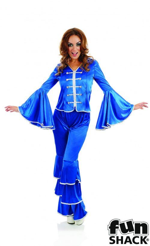 Dancing Queen Blue Ladies Fancy Dress Costume