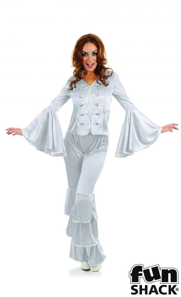 Dancing Queen Silver Ladies Fancy Dress Costume