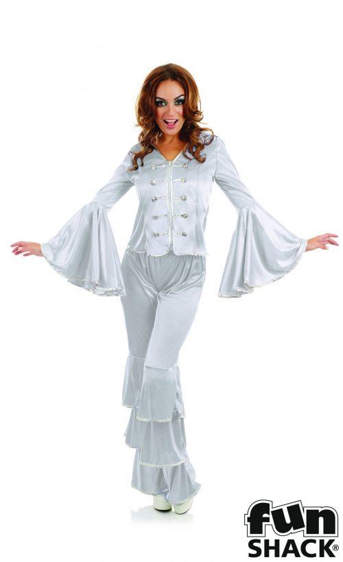 Dancing Queen Silver Ladies Fancy Dress Costume