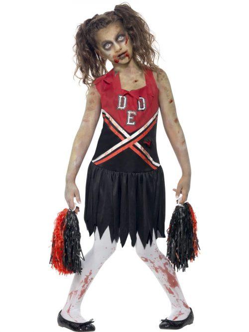 Zombie Cheerleader Children's Halloween Fancy Dress Costume