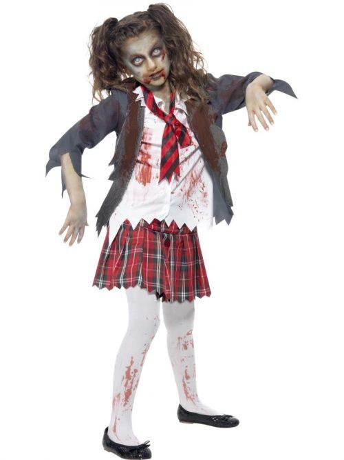 Zombie Schoolgirl Children's Halloween Fancy Dress Costume