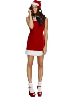 Fever Collection Miss Santa Cutie Christmas Ladies Fancy Dress Costume