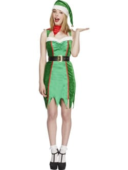 Fever Collection Naughty Elf Christmas Ladies Fancy Dress Costume