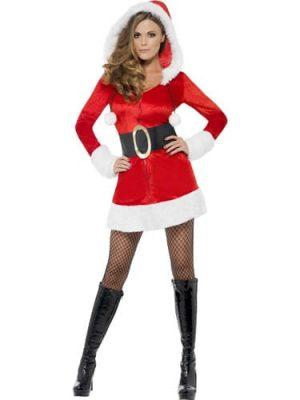 Fever Santa with Hood Christmas Ladies Fancy Dress Costume (DISC)