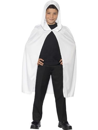 Whiite Hooded Unisex Cape Children's Halloween Fancy Dress