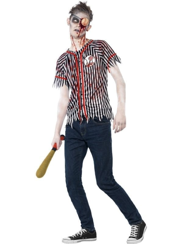Zombie Baseball Player Young Adult Halloween Fancy Dress Costume