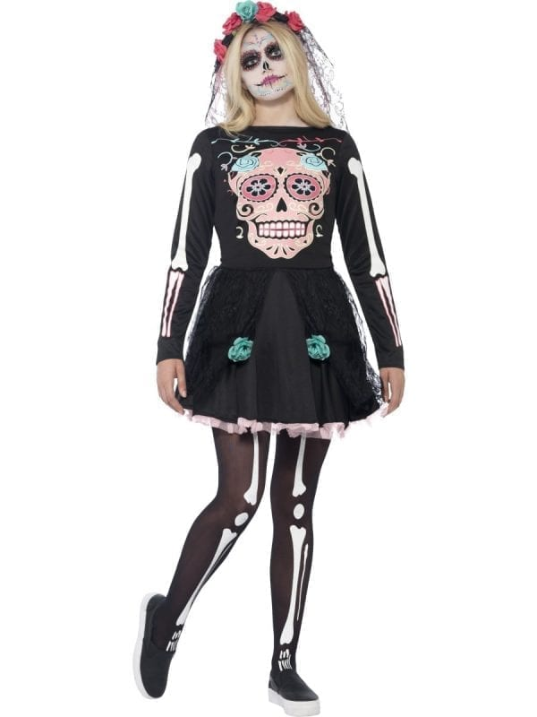 Sugar Skull Sweetie Young Adult Halloween Fancy Dress Costume