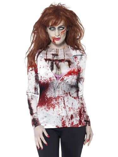 Zombie Alley Female T-Shirt Ladies Halloween Fancy Dress Costume