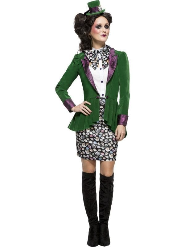 Fever Eccentric Hatter Ladies Halloween Fancy Dress Costume