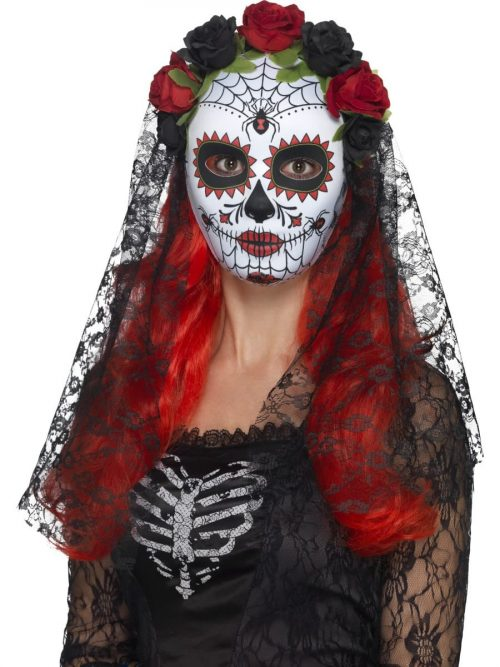 Day of the Dead Senorita Mask White Full Faced